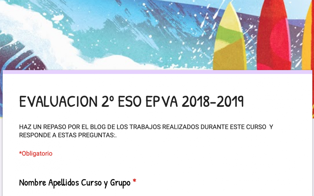 EVALUACIÓN EPVA 2º CURSO 2018-2019